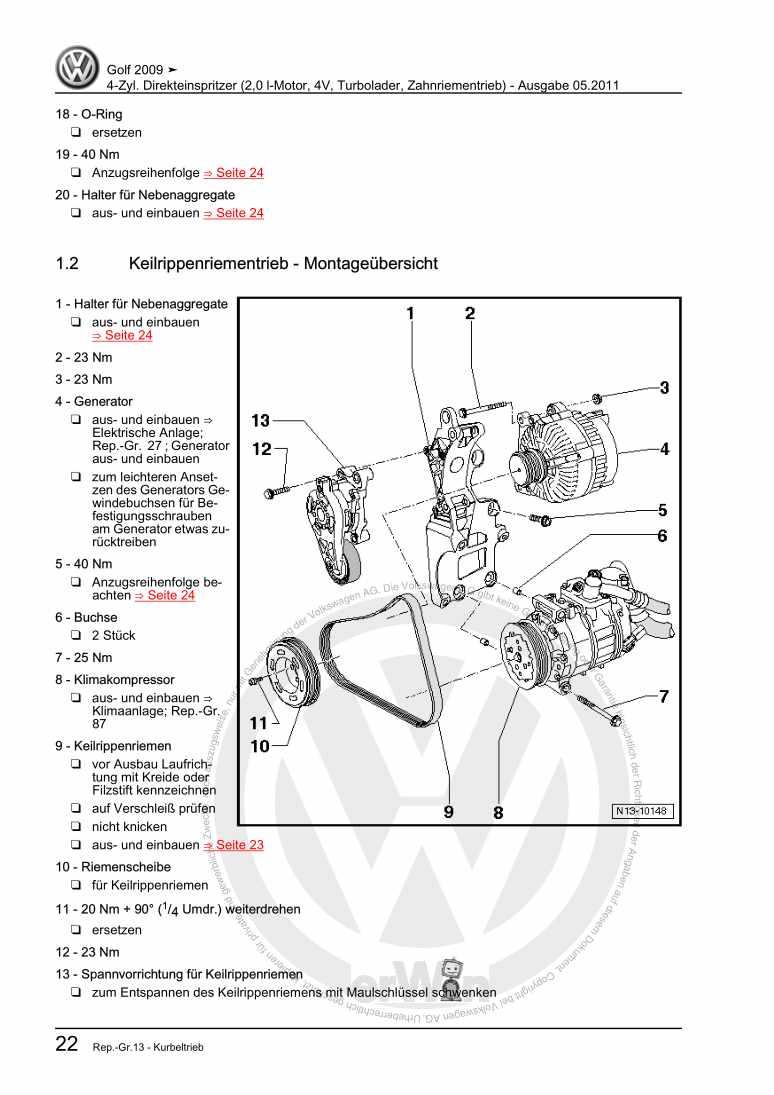 Beispielseite für Reparaturanleitung 4-Zyl. Direkteinspritzer (2,0 l-Motor, 4V, Turbolader, Zahnriementrieb)