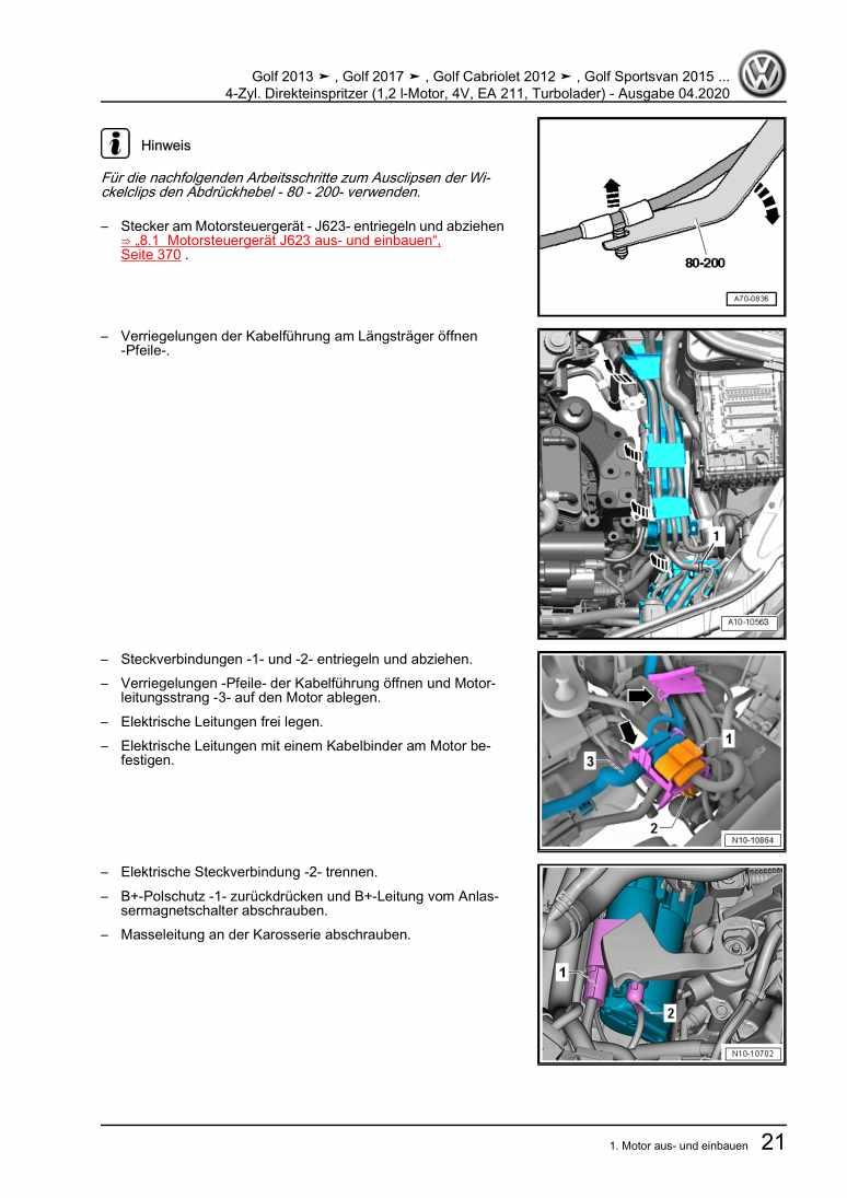 Beispielseite 2 für Reparaturanleitung 4-Zyl. Direkteinspritzer (1,2 l-Motor, 4V, EA 211, Turbolader)