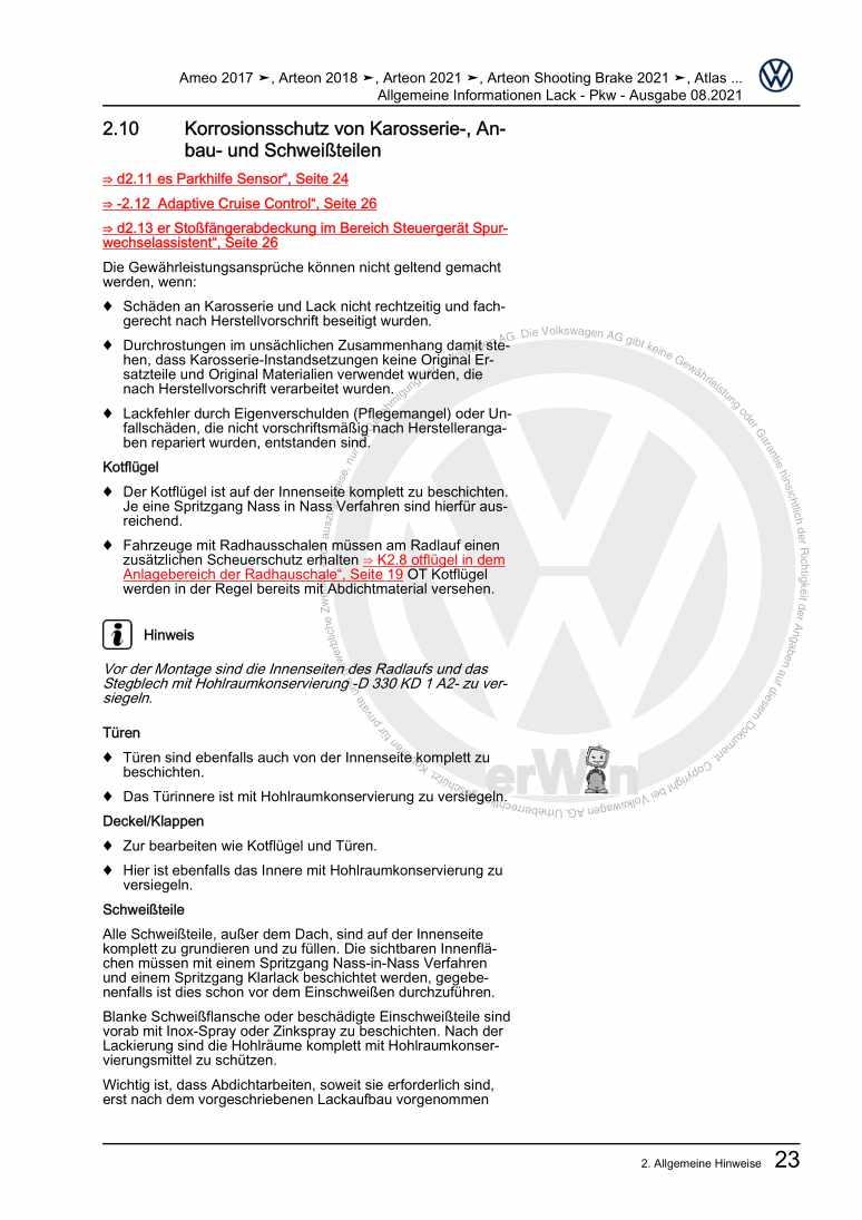 Beispielseite für Reparaturanleitung Allgemeine Informationen Lack - Pkw
