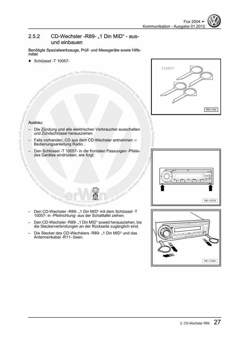 Beispielseite für Reparaturanleitung Kommunikation