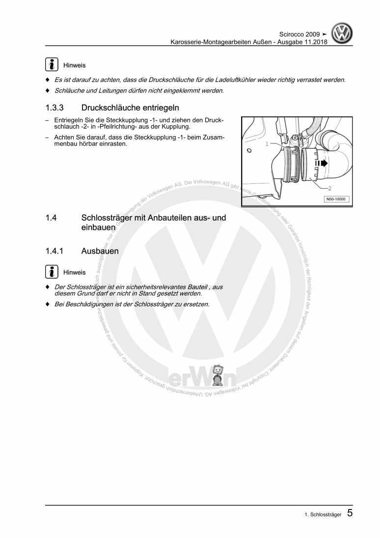 Beispielseite für Reparaturanleitung Karosserie-Montagearbeiten Außen