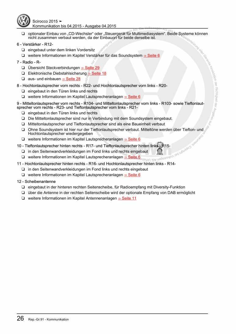 Beispielseite für Reparaturanleitung Kommunikation bis 04.2015