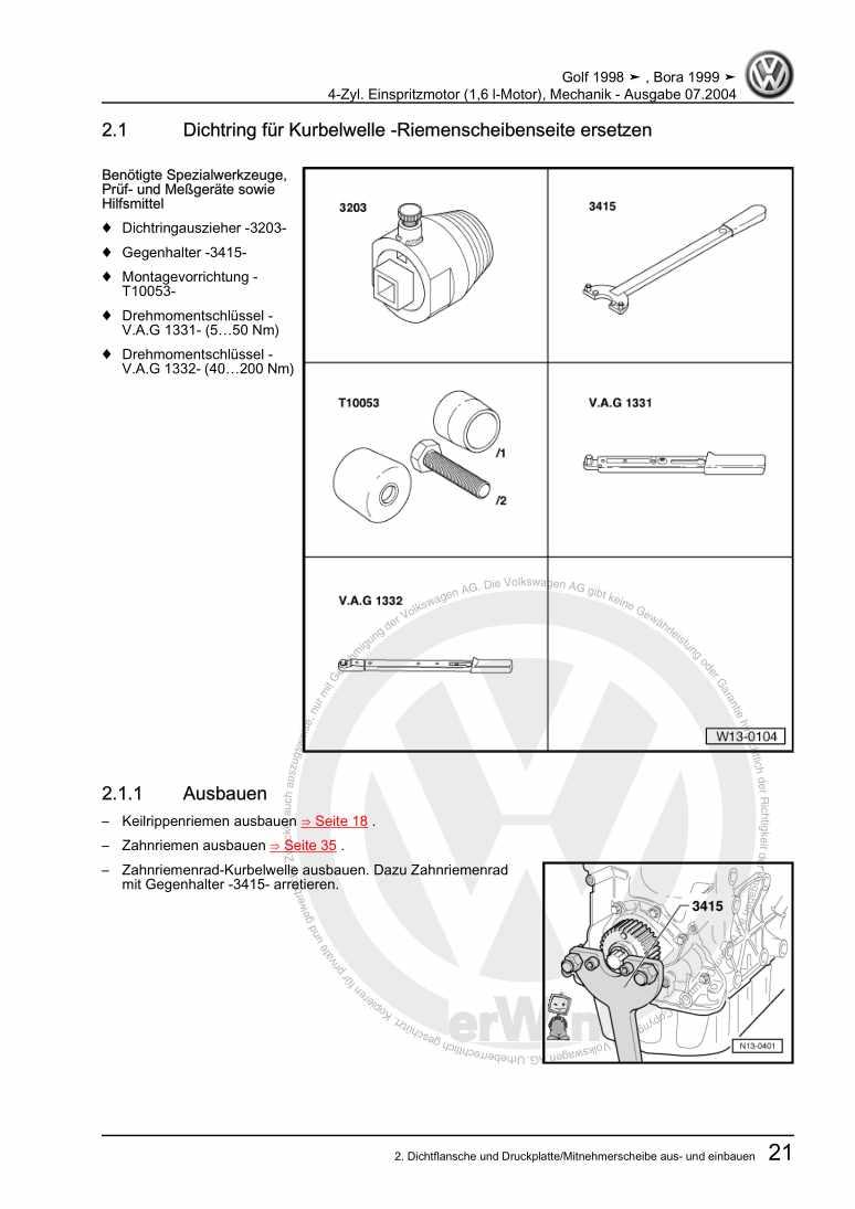 Beispielseite 2 für Reparaturanleitung 4-Zyl. Einspritzmotor (1,6 l-Motor), Mechanik