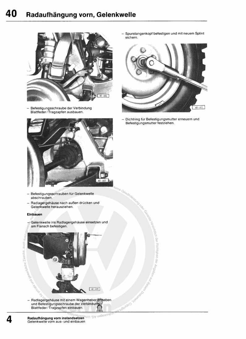 Beispielseite für Reparaturanleitung Fahrwerk