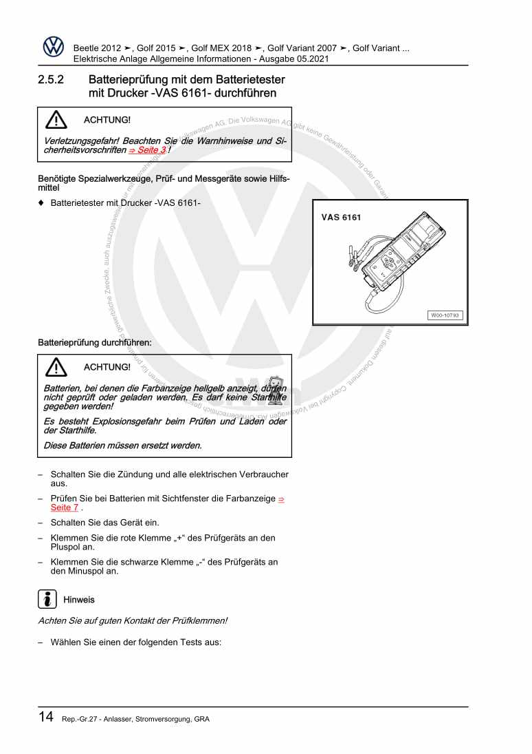 Beispielseite für Reparaturanleitung Elektrische Anlage Allgemeine Informationen