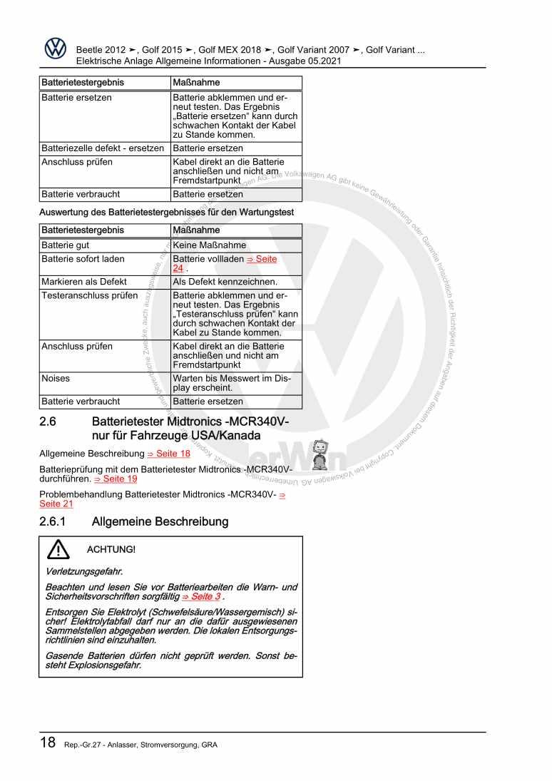 Beispielseite 2 für Reparaturanleitung Elektrische Anlage Allgemeine Informationen