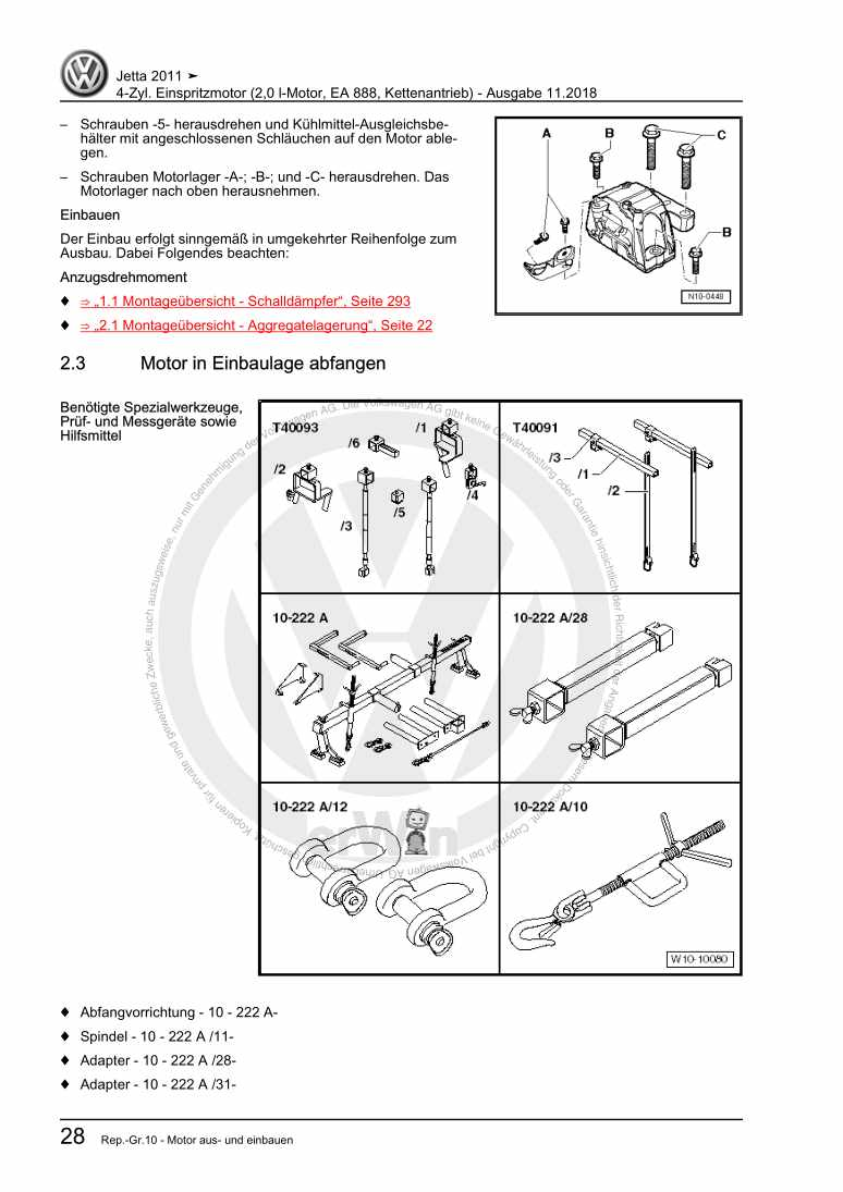 Beispielseite für Reparaturanleitung 4-Zyl. Einspritzmotor (2,0 l-Motor, EA 888, Kettenantrieb)