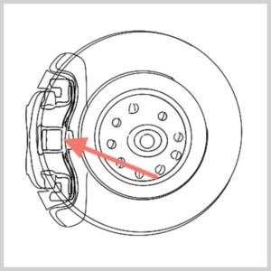 Darstellung Haltefeder heraushebeln zum Thema Golf 5 Bremssattel vorne wechseln