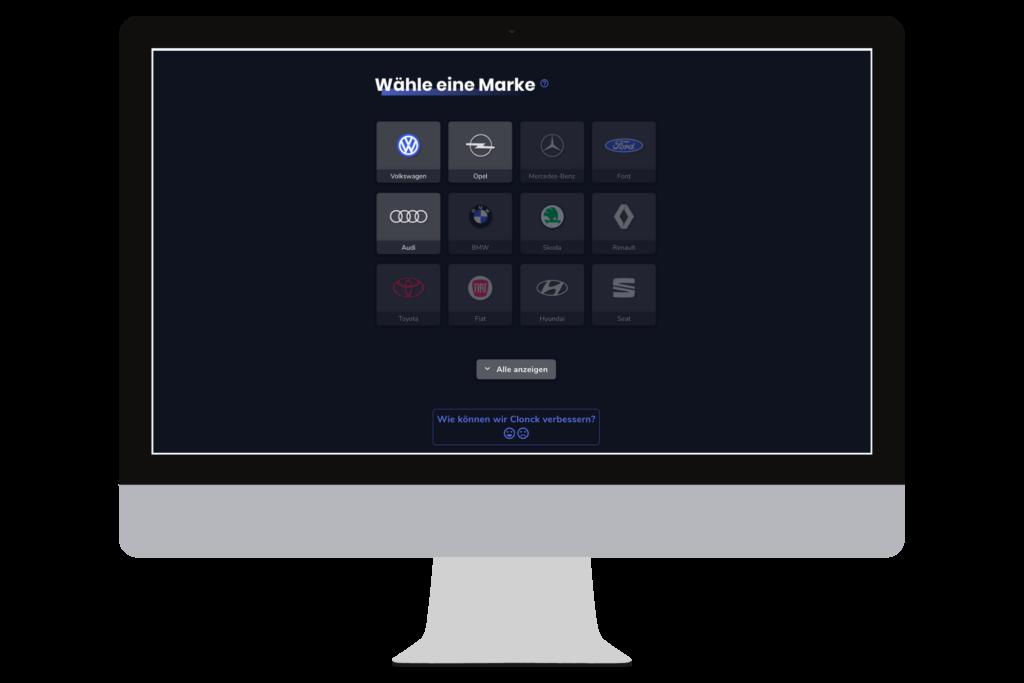 Startscreen der Clonck-App auf dem Desktop