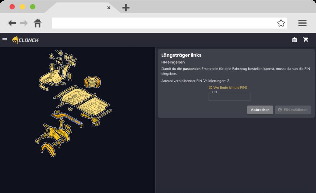 Abbildung der FIN-Eingabe in der App